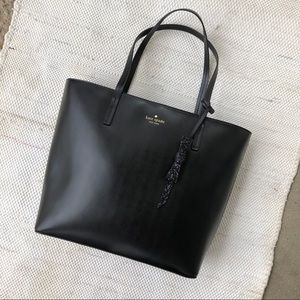 NWT black kate spade tote bag with glittery bow